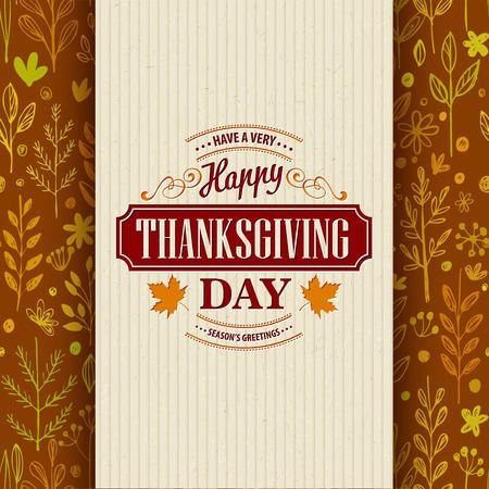 elegant background: Thanksgiving typography greeting card on seamless pattern. Vector illustration EPS 10