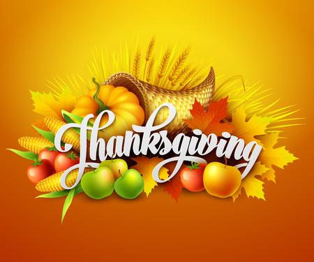 cuerno de la abundancia: Ilustración de un cuerno de la abundancia de gracias llena de frutas y verduras de cosecha. Vector EPS 10 Vectores