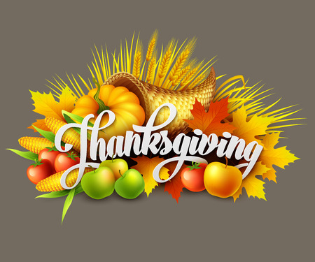 fall harvest: Illustration of a Thanksgiving cornucopia full of harvest fruits and vegetables. Vector EPS 10