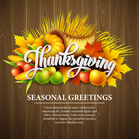 fruit: Illustration of a Thanksgiving cornucopia full of harvest fruits and vegetables. Vector EPS 10