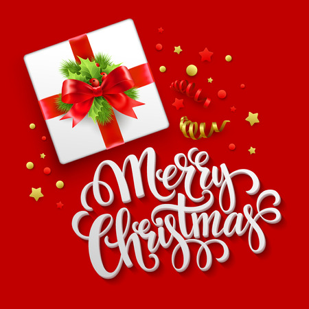 Cartolina d'auguri di Natale. Confezione regalo di Natale. Eps di illustrazione vettoriale 10
