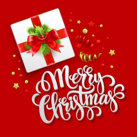 Merry Christmas greeting card. Christmas gift box.  Vector illustration EPS 10
