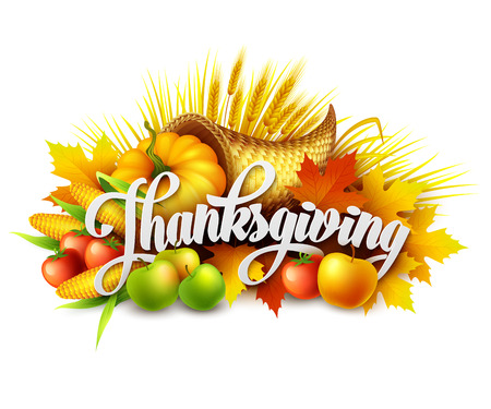 thanksgiving art: Illustration of a Thanksgiving cornucopia full of harvest fruits and vegetables. Vector EPS 10