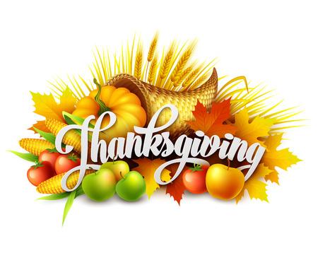 thanksgiving day symbol: Illustrazione di una cornucopia del Ringraziamento pieno di frutta e verdura raccolta. Vettoriale EPS 10