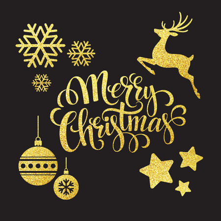 retro christmas: Christmas gold glitter  elements. Vector illustration EPS 10