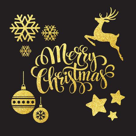 muerdago navideÃ?  Ã? Ã?±o: Elementos de brillo del oro de la Navidad. Ilustración del vector EPS 10 Vectores