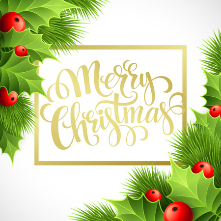 christmas gold: Merry Christmas lettering card with holly. Vector illustration EPS 10