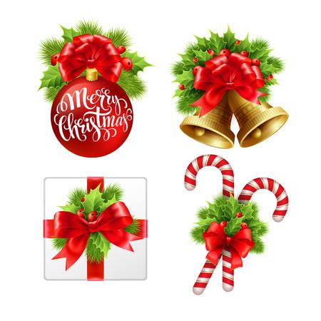 candy border: Christmas sign set. Vector Illustration EPS 10