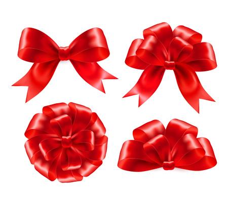 moños navideños: Conjunto de regalo rojo arquea con las cintas. Ilustración del vector EPS 10