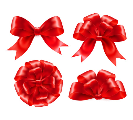 Set of red gift bows with ribbons. Vector illustration EPS 10