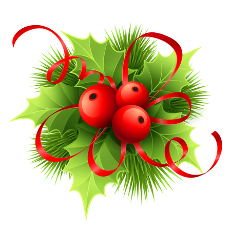 decor: Vector Christmas holly with berries. Vector illustration EPS 10