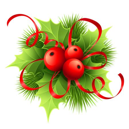 bordes decorativos: Vector de Navidad de acebo con las bayas. Ilustración del vector EPS 10