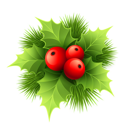 green bow: Vector Christmas holly with berries. Vector illustration EPS 10