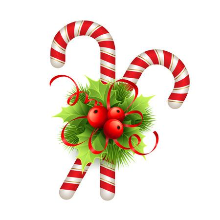 candies: Decoración de Navidad con hojas de acebo, arco y dulces. Ilustración del vector EPS 10 Vectores