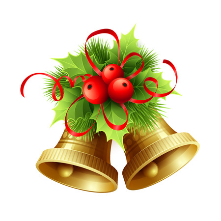 tinsel: Golden Christmas bells with Holly berries, tinsel and red bow. Vector illustration EPS 10 Illustration