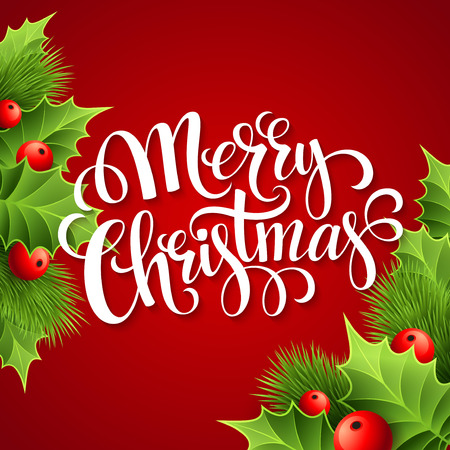 holly: Merry Christmas lettering card with holly. Vector illustration EPS 10