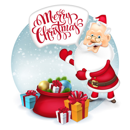 clause: Happy Santa Clause with gift sack. Vector illustration EPS 10