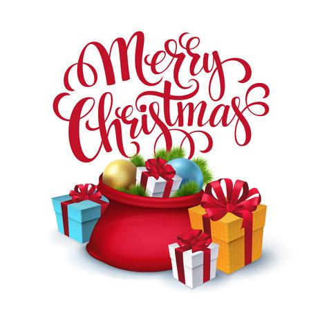 papa noel: Bolsa vectorial Santa Claus con los regalos aislados. Ilustración del vector EPS 10 Vectores