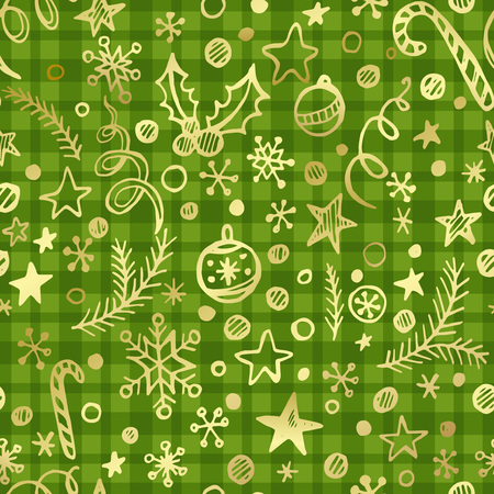 christmas candy: Cgristmas checkered seamless pattern with golden decoration. Vector illustration EPS 10 Illustration