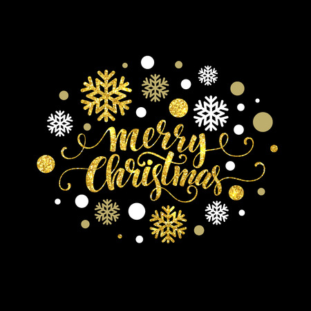 retro christmas: Merry Christmas gold glittering lettering design. Vector illustration EPS 10