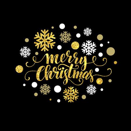 the christmas: Oro Buon Natale scintillante disegno lettering. Eps di illustrazione vettoriale 10 Vettoriali