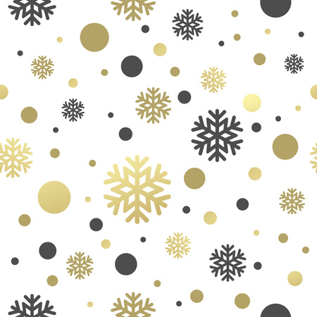 flake: Seamless white christmas wallpaper with black and golden  snowflakes. Vector illustration EPS 10