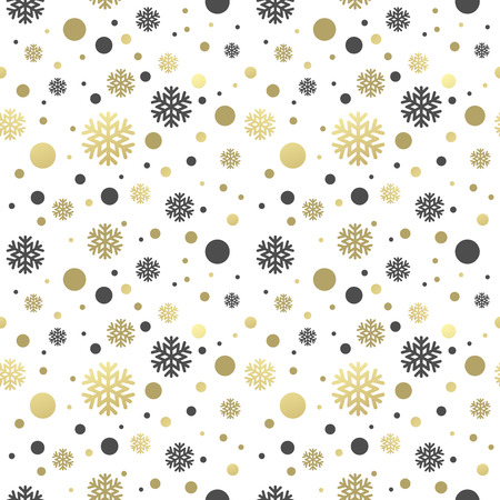 lilas: Seamless white christmas wallpaper with black and golden  snowflakes. Vector illustration EPS 10