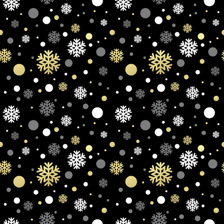 Seamless black christmas wallpaper with white and golden  snowflakes. Vector illustration EPS 10
