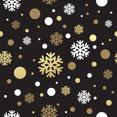 lilas: Seamless black christmas wallpaper with white and golden  snowflakes. Vector illustration EPS 10