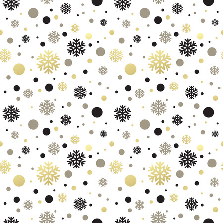 christmas wallpaper: Seamless white christmas wallpaper with black and golden  snowflakes. Vector illustration EPS 10