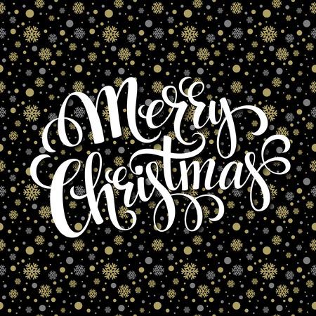 christmas postcard: Merry Christmas gold glittering lettering design. Vector illustration EPS 10