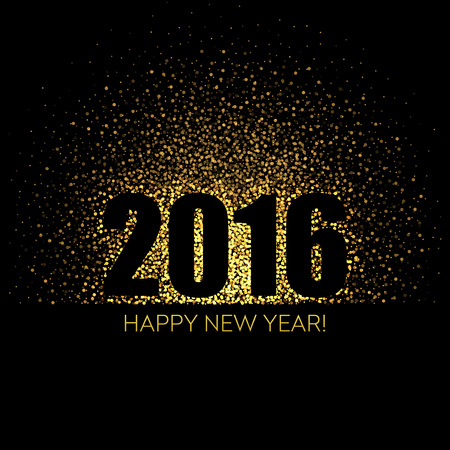 2016 Happy New Year glowing background. Vector illustration EPS 10