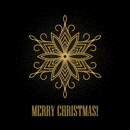 flocon de neige: Festive fond d'or avec des flocons de neige d'or. Vector illustration EPS10 Illustration
