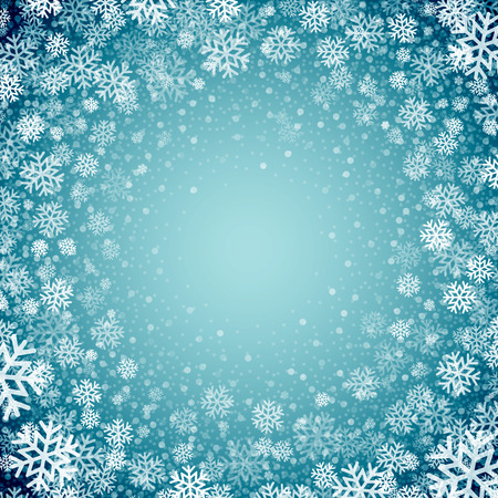 merry christmas: Fond bleu avec des flocons de neige. Vector illustration EPS 10