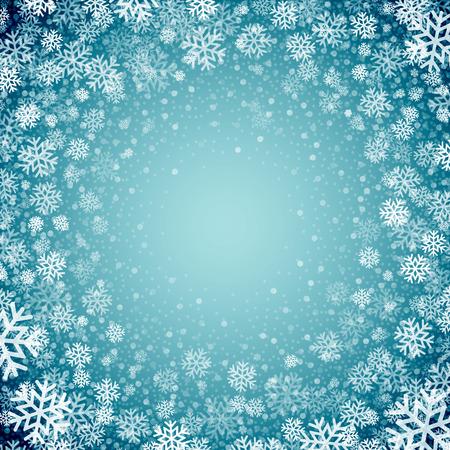 muerdago navideÃ?  Ã? Ã?±o: Fondo azul con los copos de nieve. Ilustración del vector EPS 10 Vectores