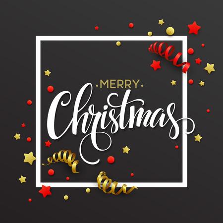 moños navideños: Tarjeta de Navidad con confeti y cintas. ilustración vectorial Vectores