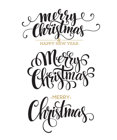 Merry Christmas Lettering Design Set. Vector illustration  Ilustração