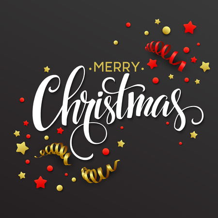 marco cumplea�os: Tarjeta de Navidad con confeti y cintas. ilustraci�n vectorial Vectores