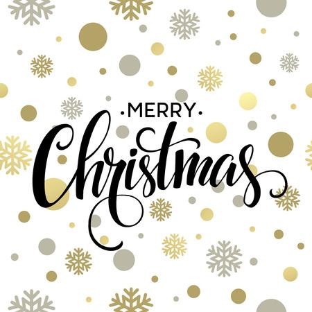 Merry Christmas gold glittering lettering design. Vector illustration