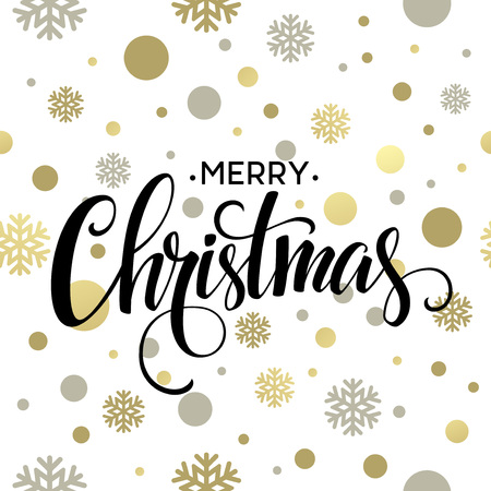 hand lettering: Merry Christmas gold glittering lettering design. Vector illustration