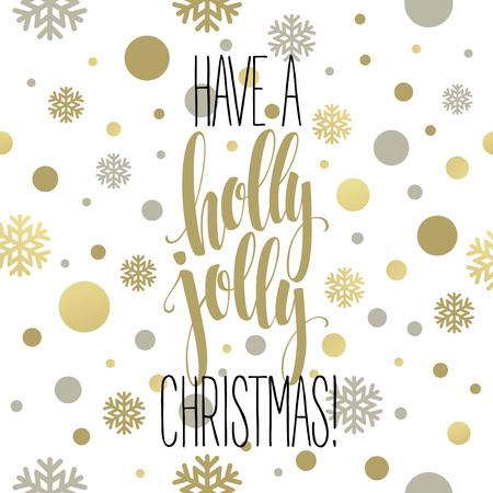 ヒイラギがある陽気なクリスマス。文字ベクトル図  イラスト・ベクター素材