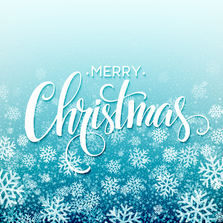 Merry christmas  handwritten text on background with snowflakes. Vector illustration  Illustration