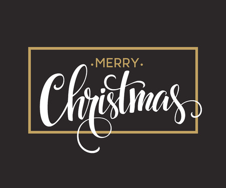 Merry Christmas Lettering Design. Vector illustration Çizim