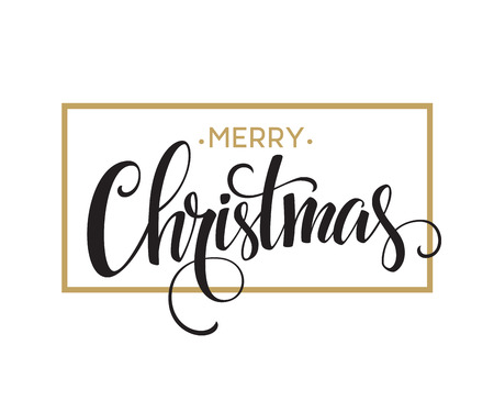 gold banner: Merry Christmas Lettering Design. Vector illustration