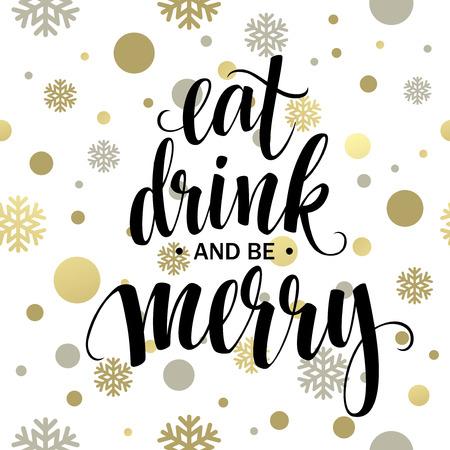 pareja comiendo: Cartel de las letras Coma la bebida y sea feliz. Ilustración vectorial