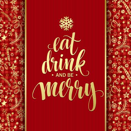 Poster belettering Eet drinken en vrolijk. Vector illustratie Stock Illustratie