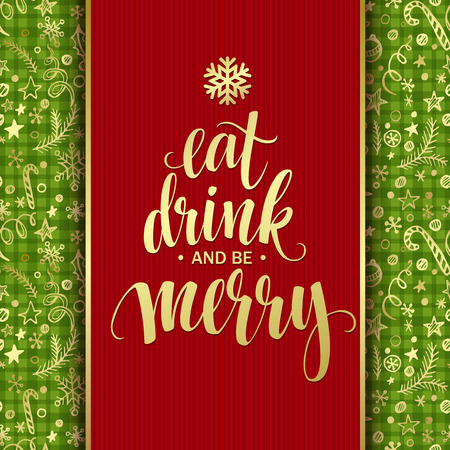 bebes lindos: Poster lettering Eat drink and be merry. Vector illustration