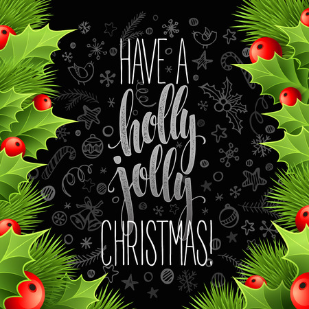 cintas  navide�as: La decoraci�n de Navidad en tarjeta de tiza. Ilustraci�n vectorial