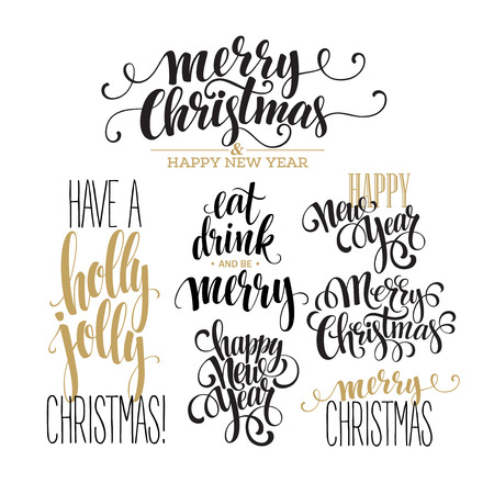 happy  new: Merry Christmas Lettering Design Set. Vector illustration  Illustration