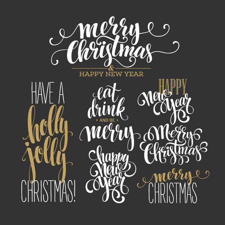 gold banner: Merry Christmas Lettering Design Set. Vector illustration  Illustration